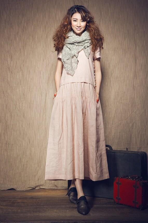 pink maxi dress, linen dress with pintuck and pockets,  long dress, linen tunic dress, linen bridesmaid dress, party dress, plus size