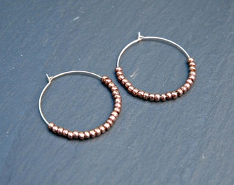 Rose gold hoop earrings, large sterling silver hoops, rose gold beaded earrings, mixed metals, copper, modern jewelry - sangria