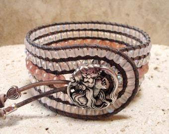 Czech Druk Pink Opal Rose, Rose Ghost & Rose AB Handmade Beaded Leather Cuff Style Single Wrap Bracelet