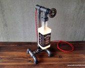 Bourbon Bottle Lamp - Industrial Lamp - Man Cave - Pipe Bottle Lamp - Rustic Industrial Style - Whiskey Light