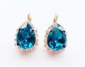 Blue teardrop Crystal Stud earrings - rhinestones - 24k gold plated