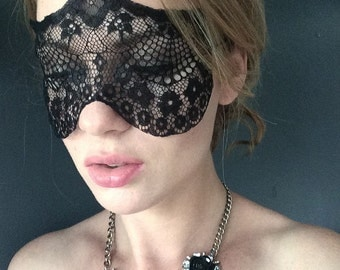 Geometrical Deco Lace Mask in Black - Masquerade Black Lcae Mask - Floral Deco Lace Mask - Halloween Adult Lace Mask