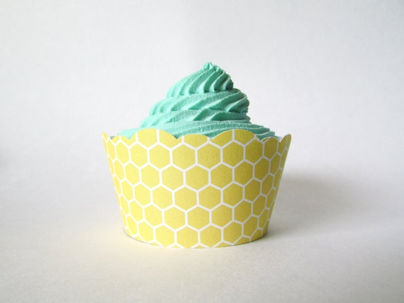 Honeycomb Cupcake Wrappers, Honey Bee, Shabby Chic, Rustic, Meant to Bee, Bumblebee, Bridal Shower, Bee Mine, Wedding, Bee Baby Shower