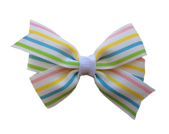 25% off SALE Pastel stripe hair bow - striped bow, 3 inch bow