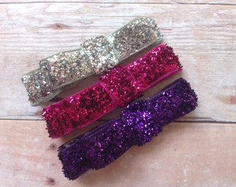 Set of 3 glitter hair clips - glitter hair bows, silver, hot pink & purple glitter clips, glitter bows, baby bows, toddler bows, baby clips