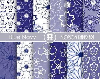 Digital Paper, Blue Navy Digital Paper Pack, Digital Paper Pack, digital backgrounds, Floral Blue Navy Papers -1679