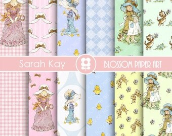 Sarah Kay Digital Paper Scrapbooking, Sarah Kay Paper Pack, Vintage Images, - INSTANT DOWNLOAD  - 1747