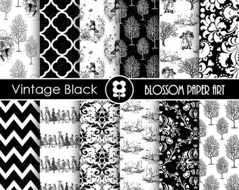 Black and White Toile Digital Paper Vintage Wedding Scrapbooking Paper, Vintage Papers - Invitations - Paper Crafts - 1750