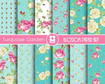 Scrapbooking Digital Paper, Floral Digital Paper Pack, Pink and Turquoise Scrapbooking, Roses - INSTANT DOWNLOAD  - 1844