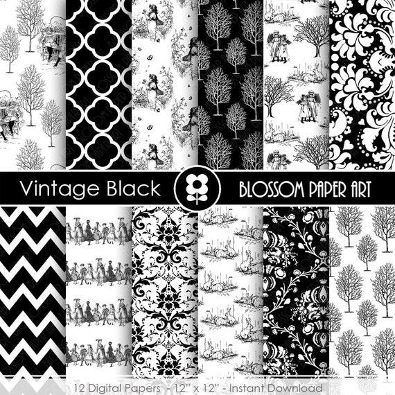 Papeles digitales en blanco y negro para imprimir papeles - Papel de pared blanco y negro ...