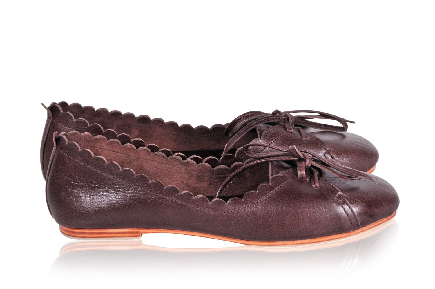 endless brown leather shoes pointy flats womens