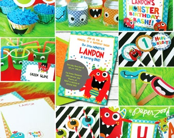 INSTANT DOWNLOAD, Monster Bash Birthday Boy, Party Package, You Edit in Adobe Reader!