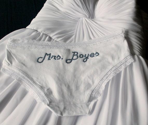 Custom Bridal Panties, Bachelorette Wedding Shower Bridal Lingerie, Bridal Shower, Bachelorette Party Bride Lace Knickers, Cotton Hipster