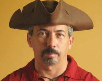 New Medieval Renaissance SCA Larp Tricorn Pirate Old Leather Hat - Serie Black Flag