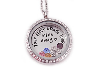 Personalized Your First Breath Took Mine Away Locket  - Hand Stamped Mother Jewelry - Memory Locket - Mother's Day - Gift For Mom - New Baby