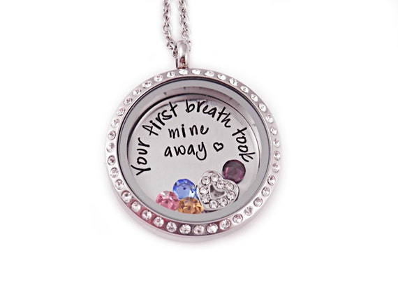 Hand stamped mother jewelry memory locket mother s day gift for