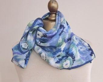 BLUE floral scarf, vintage SILK scarf,  1970s blue scarf, watercolour scarf, headscarf, blue silk scarf