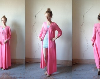 hot pink robe/ nightgown/ lingerie/ sleepwear// one size:  s/m/l
