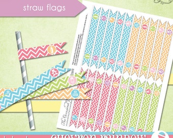 Chevron Rainbow Straw Flags • PRINTABLE Baby Shower • by The Occasional Day