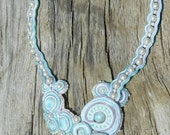 Larissa:  Stunning Larimar, Soutache, and Pearl necklace