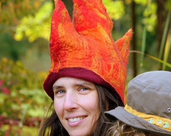 Autumn Queen Nuno Felted Hat, Small to Medium Wet Felted Hat, Nuno Felt