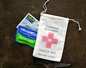 Personalized DIY Hangover Kit, In Sickness and In Health.  Wedding favor bags, muslin, 3x4.5. Set of 25.  Red cross with heart.