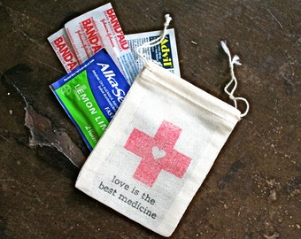 Hangover Kit favor bags, muslin, 2x4. Set of 50. DIY first aid for wedding guests. Love is the Best Medicine with red cross heart.