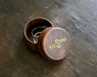 """Wedding ring box.  Tiny ring box, ring bearer accessory, ring warming.  Rustic round pine ring box with """"mr & mrs"""" design in gold."""