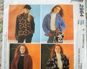 McCall's Misses' Unlined Jacket Pattern 2964 - Size S-M-L