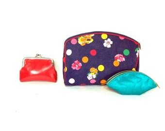 Vintage Collection - 1960s Makeup Bag - Coin Purse Trio - Travel Bag Set - Cosmetic Set