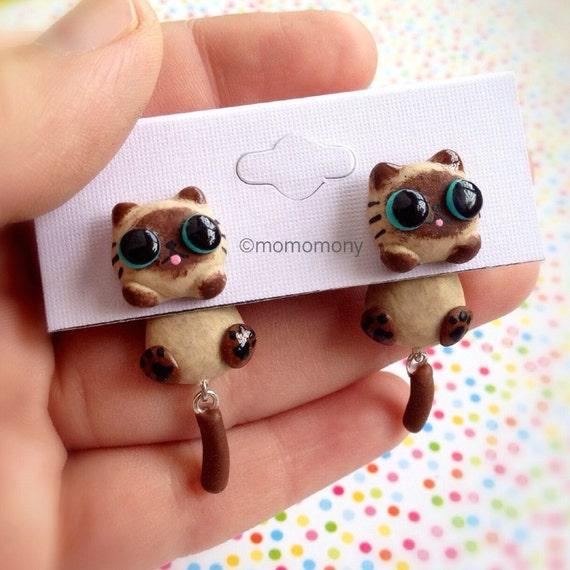 Cute Siamese Clinging Earrings
