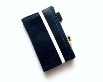 Stocking stuffer for men gift for men present Corduroy phone case iPhone wallet iphone 6 wallet guys wallet mens wallet blue wallet retro