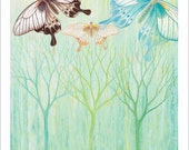 BUTTERFLIES painting with Trees Thank You Stationary Note Card by Asheville, NC Artist Jennifer Barrineau