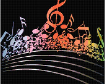 Music Notes Treble Clef Rainbow Counted Cross Stitch Pattern Chart PDF Download by Stitching Addiction