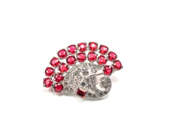 Vintage Rhinestone BROOCH  Red Cornucopia Pin  Ruby Art Nouveau