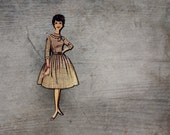 Fabulous Fashion Brooch, 1960s Brown Frock, Fun Wooden Brooch