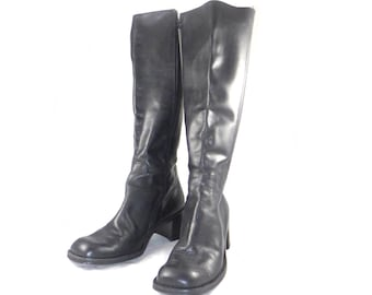 High vintage black leather low heel equestrian / riding side zip boots - stretch 37 6.5 M B shoes
