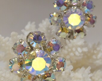Aurora Borealis Iridescent Clip Earrings Perfect for a Bride or Mother of the Bride