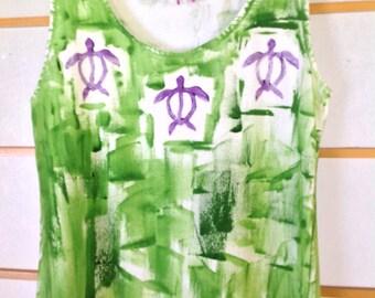 Hawaiian dress - Plus Size Dress - Cover Up - Plus Size - Cotton Sun Dress - T-shirt Dress - Hand Painted Dress - Blue Green Dress