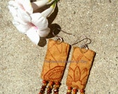 Earthy Gypsy Boho Hippie Sterling Silver Embroidred Rustic Cloth Beaded Dangle Handmade Earrings