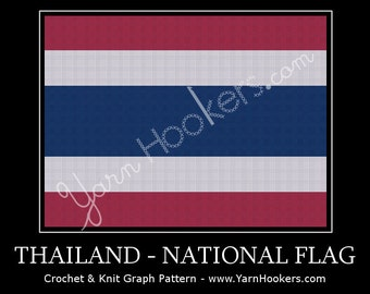 Thailand National Flag - Afghan Crochet Graph Pattern Chart by Yarn Hookers