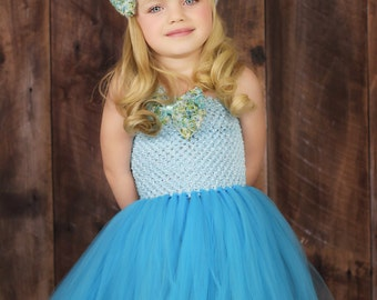 Blue and Turquoise Floral Tutu Dress