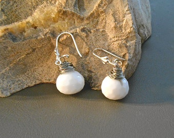 Earrings White Quartz Chalcedony Onion Briolette Plump Faceted Stone Silver Wire Gift Idea