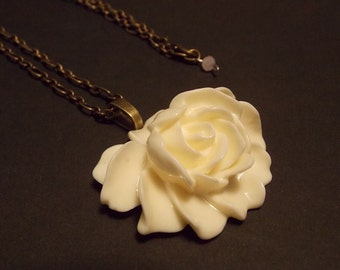 White Cabochon Rose Necklace