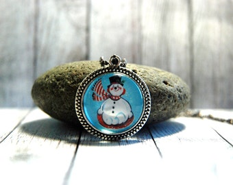 """1"""" Round  Glass Pendant Necklace or Key Chain or Key Chain  - Vintage Snowman"""
