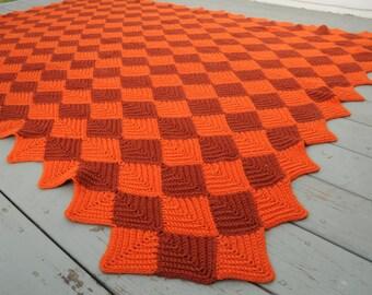 Vintage Crocheted Blanket Afghan Diamonds Orange Rust Large