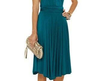 Teal infinity jersey dress. A line convertible dress. Knee length dress. Teal wedding party dress