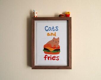 Cats and Fries A5 Print - Burger cat - Cats - I like cats - Cat print - Cat art - Burger print - Wall art - Home decor - Junk food - Cats