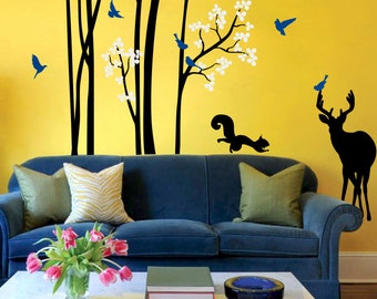 """Baby Nursery Wall Decals - Tree Wall Decal - Tree Decal Wall Mural Sticker - Squirrel and Deer Decal - Large: approx 95"""" x 89"""" - KC048"""