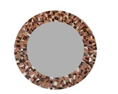 Round Mosaic Wall Mirror in Browns